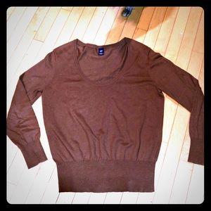 Gap XL brown round collar sweater cotton rayon